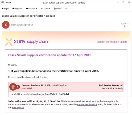 Supplier Certification Update email screenshot